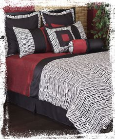 Decorate with our Tanzania bedding! Zebra print with added touches of red and black make for a modern safari look. #AnnasLinens #Zebra