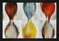 """Hour Glass 28L X 22H Floater Framed Art Giclee Wrapped Canvas - Gallery wrapped giclee print on canvas entitled """"Hour Glass"""". Surrounded by an elegant black floater frame. Archival quality UV-resistant inks designed to last. Item comes ready to hang.A gel coating then adds dimension and texture to this impressive giclee art print. The gel embellishment effectively mimics original brush strokes of the painting, highlighting areas with added depth. Black Floater Frame Gallery Quality Art Piece…"""
