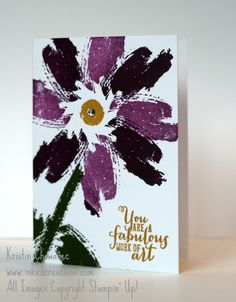 handmade card ... gorgeous flower in purple and black ...  Work of Art watercolor splotch ... luv how the correct placement leaves a white center ... great card! ...Stampin'Up!
