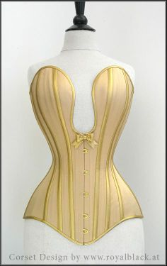 Royal Black Couture and Corsetry - handmade commissioned corset -  Cream satin, golden synthetic leather and a deep plunging neckline