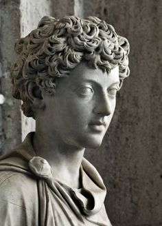 Ancient Roman sculpture showing the young Marcus Aurelius. 139-144 AD, Capitoline Museum.