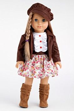 Urban Explorer - Brown Motorcycle Jacket with Paperboy Hat, Dress and Boots - 18 Inch American Girl Doll Clothes  Price : $28.97 http://www.dreamworldcollections.com/Urban-Explorer-Motorcycle-Paperboy-American/dp/B00JQVZLU8