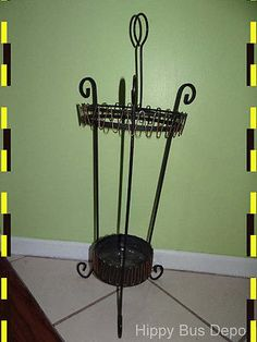 Bottom Shelf is off the Floor. Umbrella Stands, Vintage Home Accessories, Mid-century Modern, Mid Century, Iron, Black, Home Decor, Decoration Home, Black People