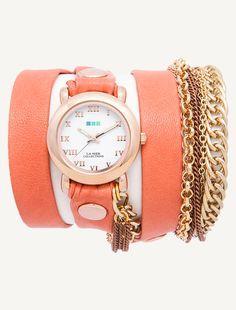 Rose Gold Circle Case. Cantaloupe leather with Rose Gold rivets. Arizona Chain. #lamercollections