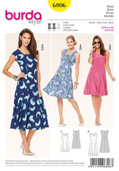 favorites not only for one summer. striking details are the slight square neck, accentuated waist and 2 godets springing from the front waist darts, adding this beautiful swing. fanciful prints complete the look.