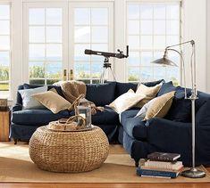 For the beach house. Indigo blue with sea grass tables
