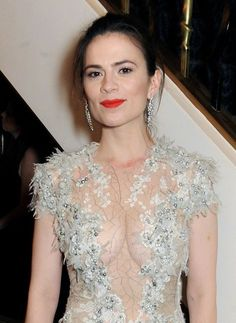 When Hayley Atwell wears a dress she certainly wears a dress
