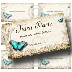 """TEAL BUTTERFLY Business Cards 3.5 X 2"""" ,Printable Digital Images, Cards, Custom business cards, Digital Download, Collage Sheet by JulryPartZ on Etsy"""
