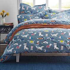 The dapper dogs on this duvet cover decked out in bowties, fedoras and berets, set against a soft blue ground. Dog Bedroom, Master Bedroom Redo, Girls Bedroom, Bedrooms, Cute Bedding, Bedding Sets, Percale Sheets, Bed Sheets, Motto