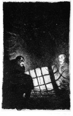 Nachtgespenst. Der Golem, plate 13, Germany, 1915-1916. Hugo Steiner-Prag