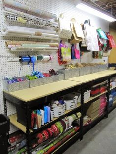 gift wrap center from sew many ways - great organization tips for gift wrap.