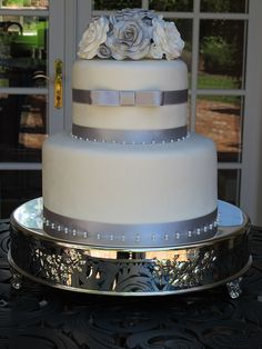 Silver and White Wedding Cake by Let's Do Cake!