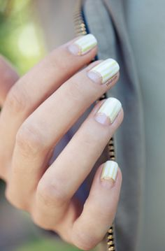 nail trends. silver and gold moon manicure