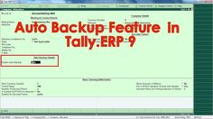 How to enable Auto Backup in Tally.ERP 9?  In Tally.ERP 9 we can enable a Company for Auto Backup feature, by which the Tally will safe gourd the Company Data by automatically takes the Backup of the Books of Accounts of your Company without interrupting the regular work of the user.