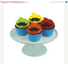 Mustache Edible Cupcake Decorations - Molded Sugar Mustache - Cake Decorations - Supply Crate. $10.80, via Etsy.