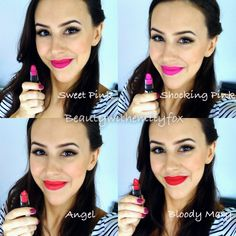 NYX Matte Lipsticks - Lip Swatches Sweet Pink, Shocking Pink, Angel and Bloody Mary!