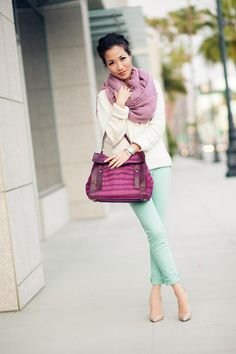Macaron Hues :: Lilac scarf & Mint jeans from Wendys Lookbo Looks Style, Looks Cool, My Style, Spring Summer Fashion, Autumn Winter Fashion, Mint Pants, Green Pants, Mint Jeans Outfit, Mint Skirt