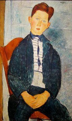 Amedeo Modigliani (Italian, 1884-1920): Boy in a Striped Sweater (Garçon dans un pull rayé), 1918. Oil on canvas. Metropolitan Museum of Art, New York, NY, USA.