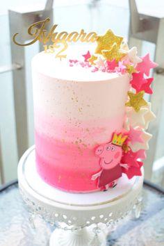 Cake inspo: Ombré buttercream Peppa Pig cake - Indulgence by Shazneen Ali Tortas Peppa Pig, Bolo Da Peppa Pig, Cumple Peppa Pig, Peppa Pig Cakes, Little Girl Birthday Cakes, Little Girl Cakes, Peppa Pig Birthday Cake, 4th Birthday, Special Birthday