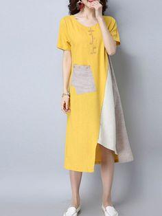Women Vintage Patchwork Short Sleeve Pocket Dresses