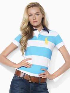polo ralph lauren clearance Women\u0026#39;s Short-Sleeved Striped Short Sleeve Polo Shirt French Turquoise /