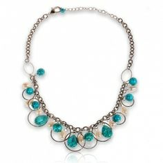 $9.31 Attractive Turquoise and Faux Pearls Necklace Neck Chain Neck Ornament for Female Woman (TX-1551N)