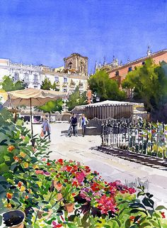Plaza Bib-rambla With Flowers by Margaret Merry