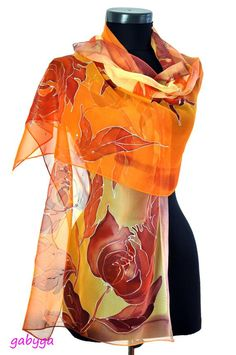 Items similar to Hand painted silk scarf/Painting by hand orange flowers/Floral chiffon scarf/Painting by hand flowers/Painting scarf/Painting on Etsy Chiffon Shawl, Floral Chiffon, Silk Chiffon, Painted Silk, Hand Painted, Hand Flowers, Silk Art, Rolled Hem, Silk Painting