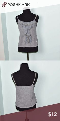 Hollister Grey Ruffle Detail Top In excellent condition! Very comfortable, stretchy, and lightweight! Buy 3 items and get 1 free plus 15% off your purchase total! Hollister Tops Blouses