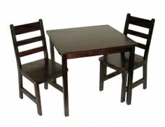 Child's Square Table & Chairs, 3-Piece Set, Espresso  This table and chair set is perfect for children's tea parties, drawing, eating, and hours of play in their own private space. Compact size is great for smaller apartments. Elegant espresso finish easily matches bedroom, kitchen, and dining room décor. Additional chairs sold separately.