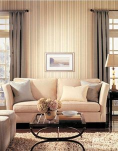 Striped wallpaper ties the curtains and couch together nicely. Wall Decor, Curtains, Home, Striped Wallpaper, Couch, Wallcovering Design, Home Decor, Wall Coverings, Room