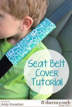 Seat Belt Cover Tutorial - Fusible Fleece Week - Therm O Web Sewing Hacks, Sewing Tutorials, Sewing Patterns, Fabric Crafts, Sewing Crafts, Sewing Projects, Sewing For Kids, Baby Sewing, Seat Belt Pillow