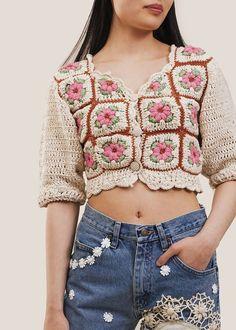 Moda Crochet, Cute Crochet, Hand Crochet, Knit Crochet, Beige Cardigan, Cropped Cardigan, Blusas Top, Summer Knitting, Crochet Jacket