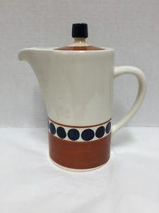 Modernist-Lapid-Israel-Ceramic-Pitcher-Lid-Beige-Brown-Blue-Dots-1970s-Vintage