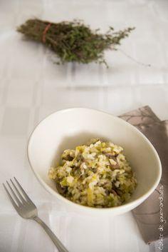 Risotto poireaux champignons | Cahier de gourmandises Grains, Veggies, Menu, Rice, Cooking, Ethnic Recipes, Kitchen, Food, Table