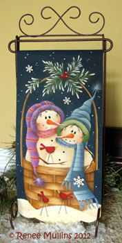 RESERVED for Cindy--Winter Time Basket Painting Pattern. $7.00, via Etsy.