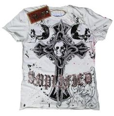 Amplified Gothic Cross Rock Star Holy Skull Strass Tee