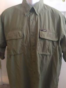 Columbia XL GRT Omni Dri Shirt Fishing Hiking Outdoors Olive Green Short Sleeve | eBay