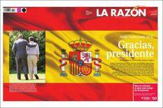 Portada de La Razón (España) con la muerte de Adolfo Suárez