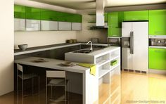 The most popular Green Kitchens ideas are on Pinterest | Contemporary unit kitchens Modern kitchens and Modern kitchen design & The most popular Green Kitchens ideas are on Pinterest ...