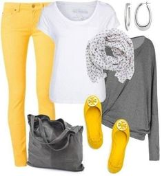21 stylish yellow pants outfits for colored style #spring #outfit #yellow