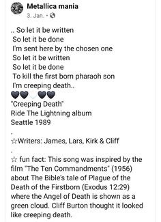 Exodus 12, Cliff Burton, Ride The Lightning, The Chosen One, Ten Commandments, Angel Of Death, Metallica, Fun Facts, Things To Think About