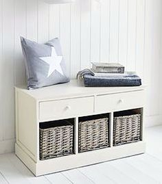 The White Lighthouse hallway furniture. The Newbury cream storage bench seat with 5 drawers. Can be used in a bedroom, bathroom or hallway. Small Bench Seat, Corner Bench Seating, Storage Bench Seating, Seating Plans, Storage Bench With Baskets, White Storage Bench, Shoe Storage, Storage Ideas, Small Hallway Furniture