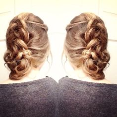 5 minute updo!  1. Pin up bangs in front.  2. Make a Dutch braid with the rest of your hair (only bring more hair into the braid every few twists for a more messy look.) 3. Pull out the braid so it is loose and thick. 4. Twist up the bottom section into a bun.  5. Pin into place!