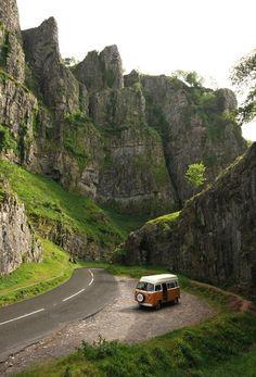 VW Camper at Cheddar Gorge / Somerset, Great Britain