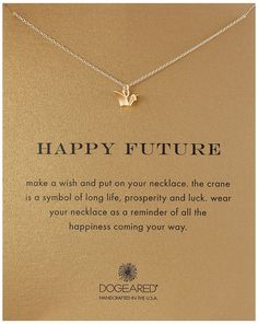 Dogeared Gold Happy Future Pendant Necklace, 18""