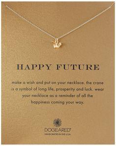 "Dogeared Gold Happy Future Pendant Necklace, 18"""