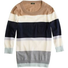 J.Crew Tippi sweater in colorblock stripe (3,165 DOP) ❤ liked on Polyvore featuring tops, sweaters, shirts, jumper, stripe shirt, graphic shirts, j crew shirt, j crew sweaters and 3/4 length sleeve shirts