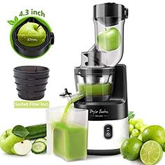 Amazon.com: Slow Masticating Juicer Machine, 55RPM Cold Press Juice Extractor 3.4inch Wide Mouth Big Feed Chute for Vegetable Fruit Sorbet: Kitchen & Dining Indoor Electric Grill, Electric Grills, Turkey Deep Fryer, High Juice, Sorbet Maker, Centrifugal Juicer, Cold Press Juicer, Juicer Machine, Best Juicer