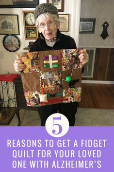 Find out 5 reasons fidget quilts can be beneficial for your loved one with Alzheimer's or Dementia and see pictures of our sweet client with hers! Lap Quilts, Quilt Blocks, Quilting Projects, Sewing Projects, Sewing Ideas, Fabric Crafts, Sewing Crafts, Nursing Home Gifts, Alzheimers Activities